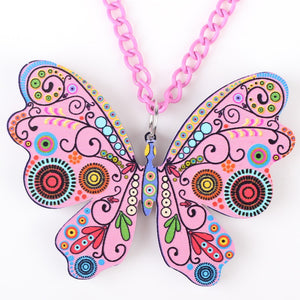 Butterfly Necklace Pendant Long Acrylic Pattern Charm