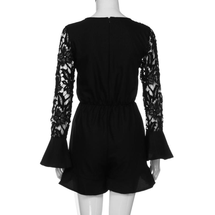 Women's Playsuit Sexy V Neck Lace Bowknot Bodycon Party Jumpsuit