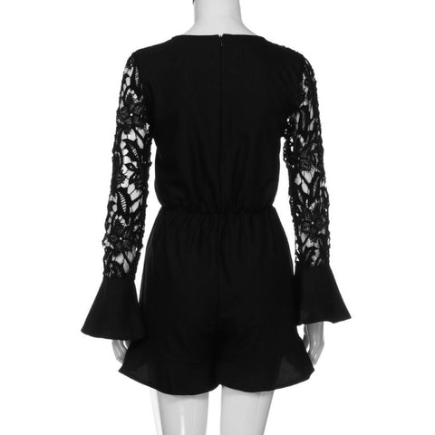 Image of Women's Playsuit Sexy V Neck Lace Bowknot Bodycon Party Jumpsuit