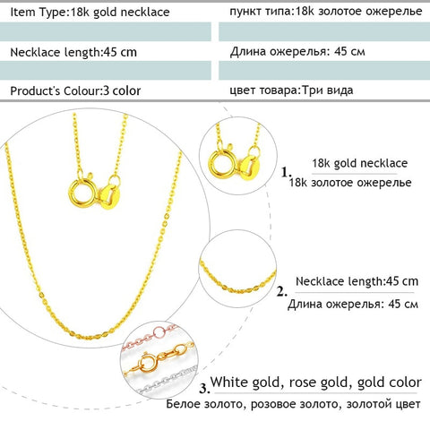 Genuine 18K White Yellow Gold Chain 18 inches - fobglobal