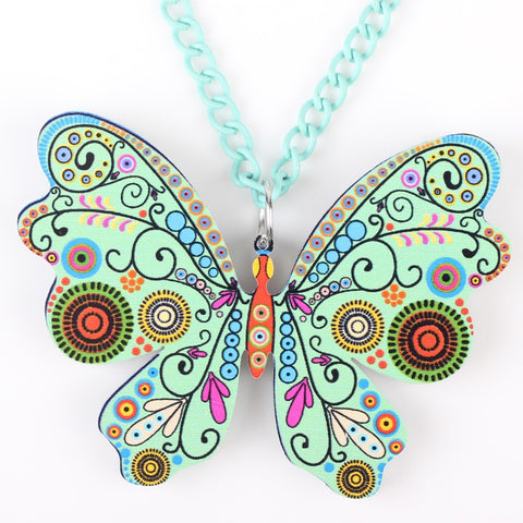 Butterfly Necklace Pendant Long Acrylic Pattern Charm - fobglobal