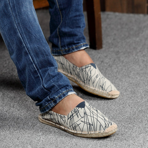 Mens Patchwork Slip On Loafers Breathable Canvas Shoes - fobglobal
