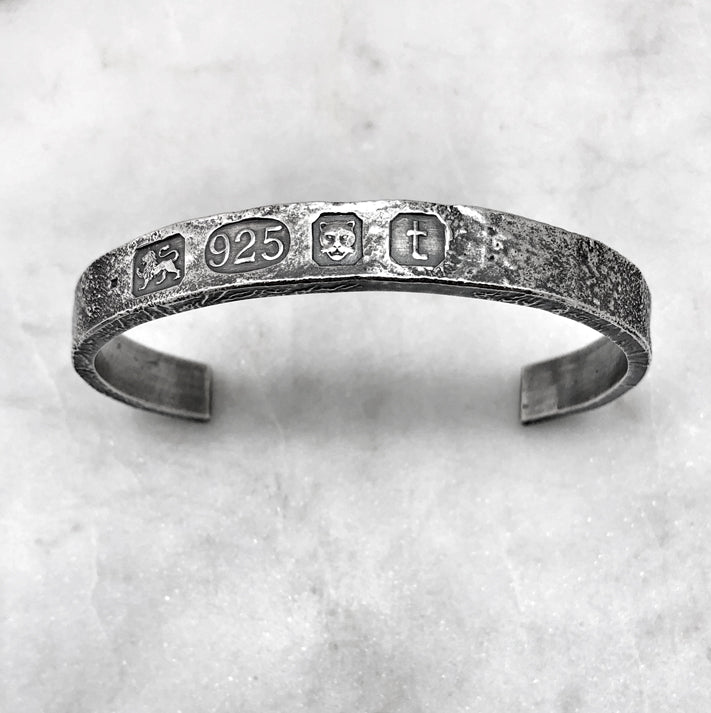 London Rectangular Rough Silver Bangle