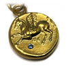 Pegasus Gold Coin & Blue Diamond Necklace