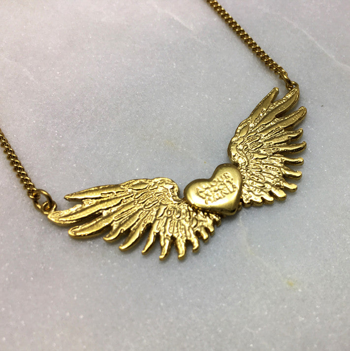 Tiny Gold Wings & Heart Necklace