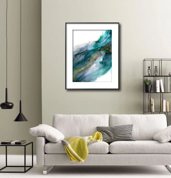Wild Rush - Giclee Print in teal green and grays