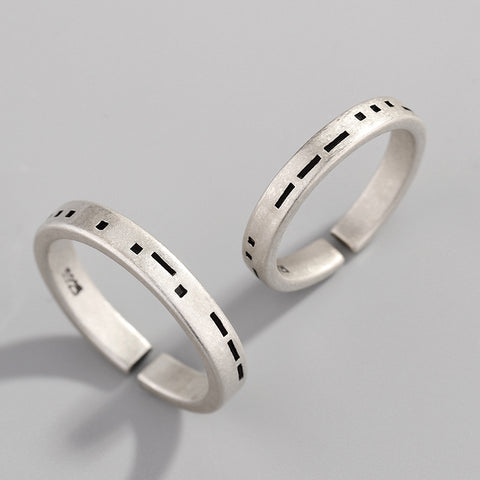 925 Couple Ring Morse Code 1314