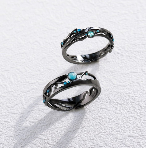 Couple Ring Blue Space