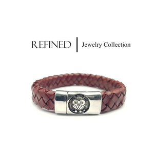 R029 - Owl Refined Red Leather Bracelet