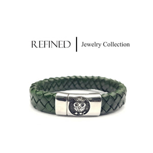 R032 - Owl Refined Green Leather Bracelet
