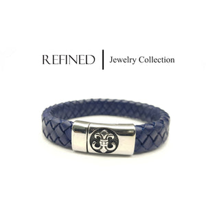 R037 - Boy Scout Refined Blue Leather Bracelet