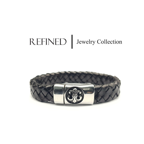 R038 - Boy Scout Refined Black Leather Bracelet
