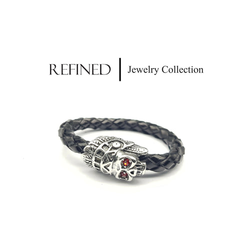 R048 - Skull Refined Black Leather Bracelet