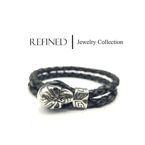 R057 - Skull Refined Black Leather Bracelet