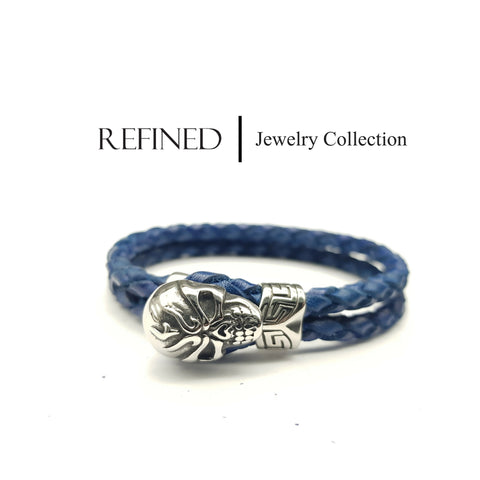 R058 - Skull Refined Blue Leather Bracelet
