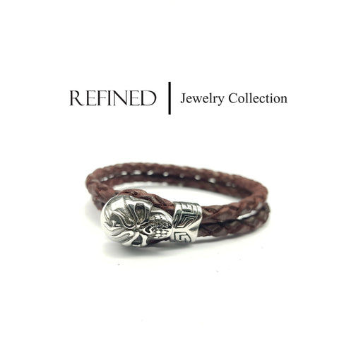R059 - Skull Refined Brown Leather Bracelet