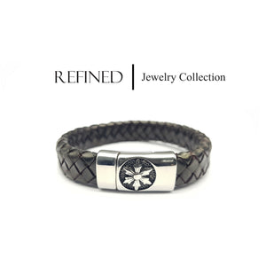 R060 - Refined Black Leather Bracelet