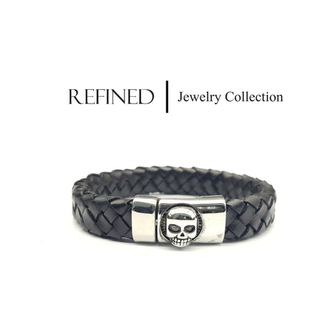 R061 - Skull Refined Black Leather Bracelet