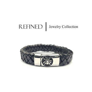 R062 - Spider Refined Black Leather Bracelet