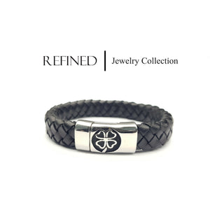 R064 - Clover Refined Black Leather Bracelet