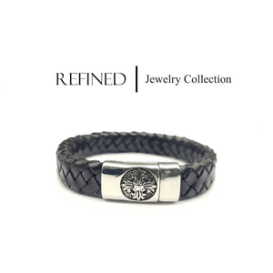 R067 - Refined Black Leather Bracelet