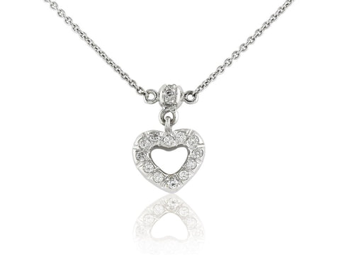 0.25ct Diamond Heart Shape Pendant Necklace (18k White Gold) - JEWELRY Boston