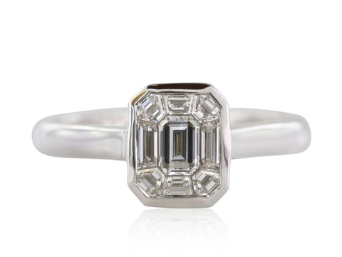 0.75 Carat Emerald Cut Octagonal Shape Diamond Engagement Ring (18K White Gold) - Jewelry Boston