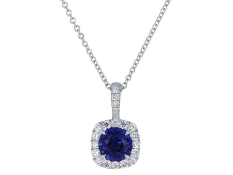 0.87 Carat Cushion Cut Sapphire And Diamond Pendant Necklace (18K White Gold) - Jewelry Boston