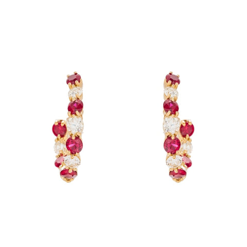 1.50Ctw Gumuchian Ruby & Diamond Yellow Gold Hoops - Jewelry Boston