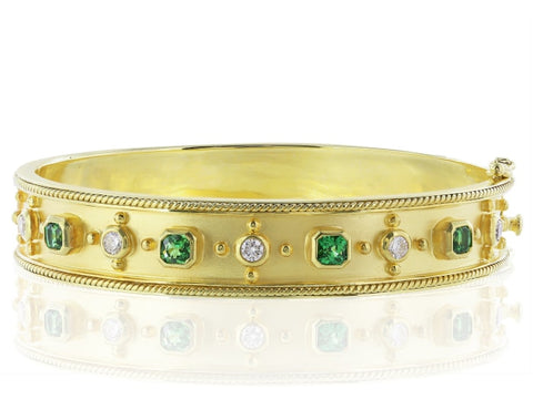 18Kt Yellow Gold Tsavorite Diamond Bangle - Jewelry Boston