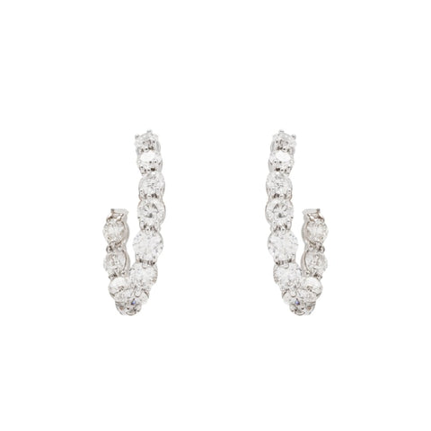 2.03Ctw Gumuchian White Gold Diamond Hoops - Jewelry Boston