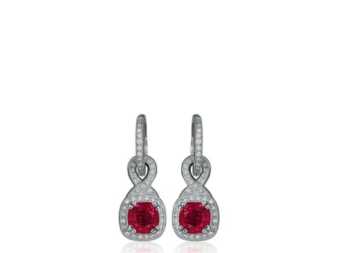 2.70 Carat Ruby And Diamond Drop Earrings (18K White Gold) - Jewelry Boston