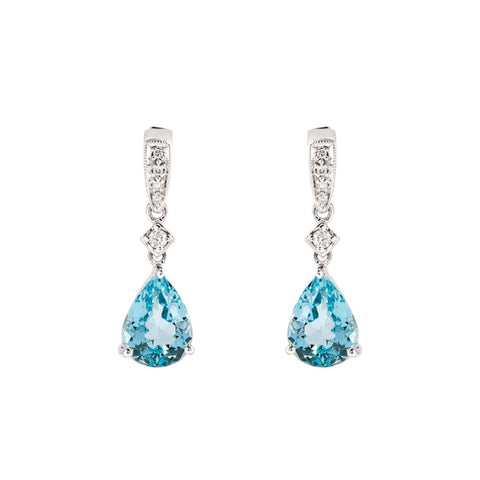 2.97ct Pear Shape Aquamarine & Diamond Drop Earrings (14k White Gold) - JEWELRY Boston