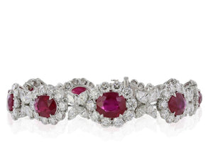 25.0 Carat Burma Ruby And Diamond Bracelet (Platinum) - Jewelry Boston