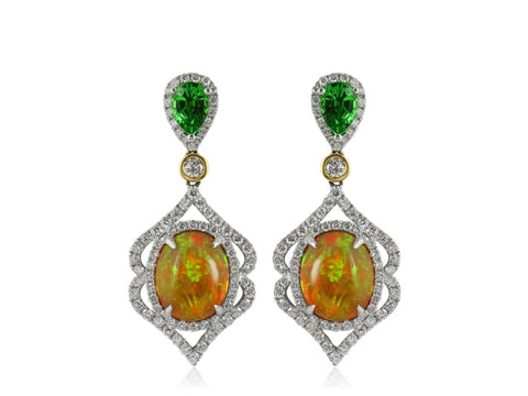 4.91 Carat Opal Drop Earrings - Jewelry Boston