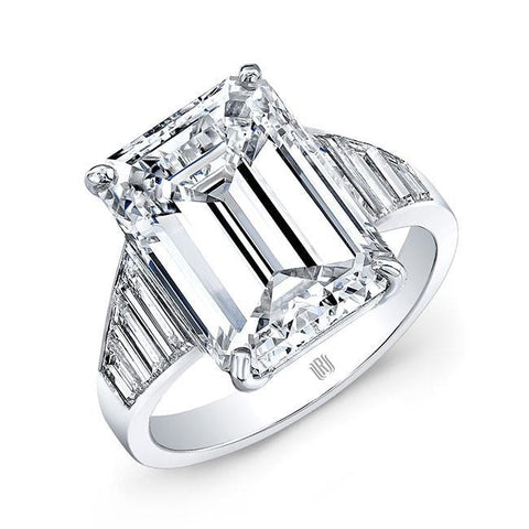 6.02 Carat Emerald Cut Diamond Engagement Ring H / Vs1 (Platinum) - Jewelry Boston