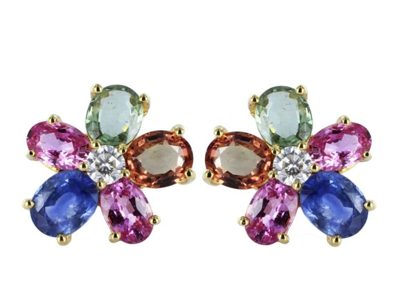 6.96 Carat Multi-Color Sapphire Earrings W/ Diamonds (18K Yellow Gold) - Jewelry Boston