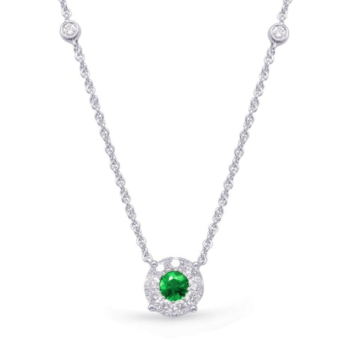 .67ct Emerald & Diamond Pendant (14 Karat White Gold) - Boston