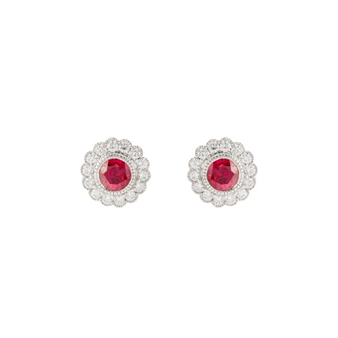 Ruby & Diamond Halo Earrings (14k White Gold) - JEWELRY Boston