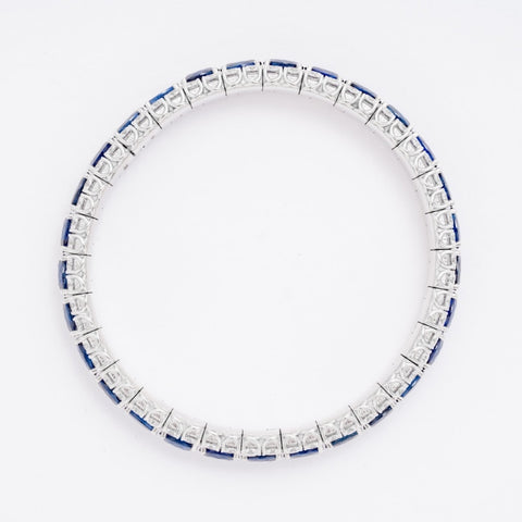 Sapphire & Diamond Expandable Bracelet (18k White) - JEWELRY Boston