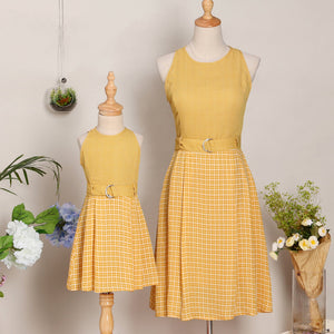 Mom Girl Yellow Plaid Dress With Belt