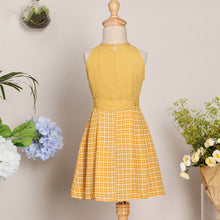 Load image into Gallery viewer, Mom Girl Yellow Plaid Dress With Belt