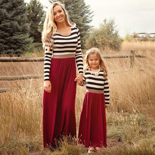 Mom Girl Stripes Round Neck Dress