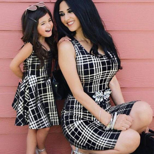 Mom Girl Plaid Sleeveless Matching Dress