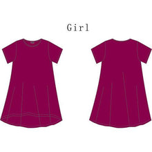 Load image into Gallery viewer, Mom Girl Solid Color Asymmetrical Pullover Matching Dress