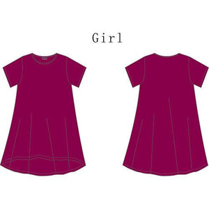 Mom Girl Solid Color Asymmetrical Pullover Matching Dress