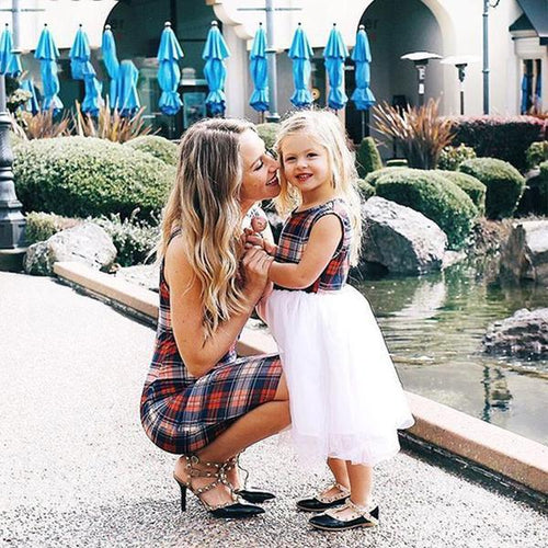 Mom Girl Plaid Tulle Sleeveless Matching Dress