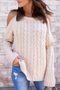 Open Shoulder  Cutout  Plain Sweaters