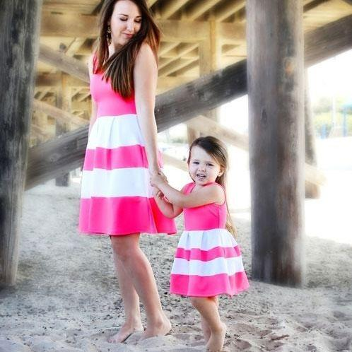 Mom Girl Stripes Color Block Matching Dress