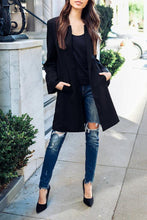 Load image into Gallery viewer, Round Neck  Slit Pocket Snap Front  Plain  Bell Sleeve Coats